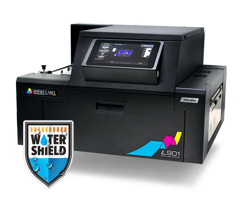 Afinia L901 Color Ink Jet Printer on white background with Water Shield logo